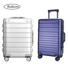 BeaSumore 100% alliage daluminium haute qualité marque roulement bagages Spinner haute capacité femmes chariot hommes valise daffaires roues