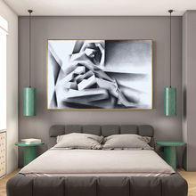 MUTU Black White And Grey Abstract Beauty Female Figure Sketch Structure Decorative Painting On Canvas In Bedding Room Wall Art