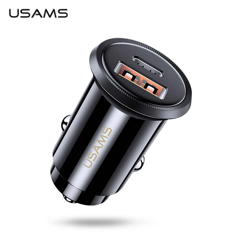 USAMS 5A USB Car Charger 30W For Xiaomi Mi Huawei QC4.0 QC3.0 Fast PD Charging Charger USB C Tablet Mobile Phone Charger Adapter