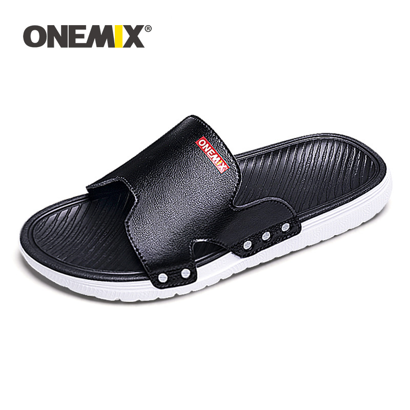 ONEMIX Summer New Sandals For Men Beach Shoes Comfortable Lightweight Slip On Outdoor Walking Wading Footwear Male Flip Flops