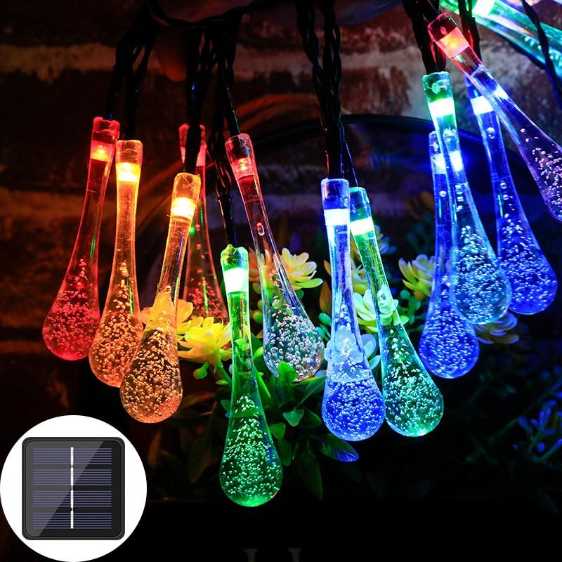6.5m 30led solar droplet lâmpada luzes da corda ao ar livre à prova dwaterproof água natal jardim luz gramado pátio solar decoração da lâmpada