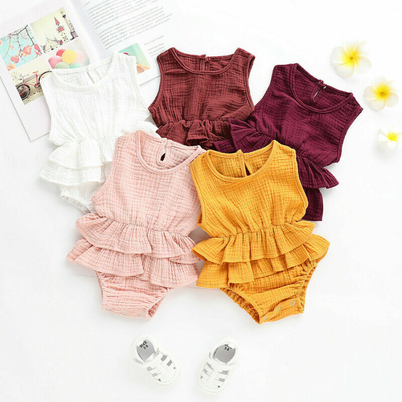 9 Colors Casual Toddler Baby Girl Boy Kid Sleeveless Cotton Romper Jumpsuit Infant Soft Solid Outfit 2020 Summer Clothes