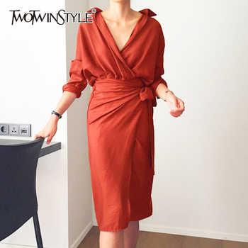 TWOTWINSTYLE Belt Dress Female V Neck High Waist Patchwork Split Midi Dresses For Women Spring Fashion Korean Clothing 2019 - DISCOUNT ITEM  49% OFF All Category