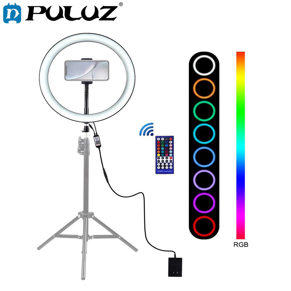PULUZ Ring-Light Phone-Clamp Cold-Shoe Photography 12inch Tripod-Head RGB LED Vlogging