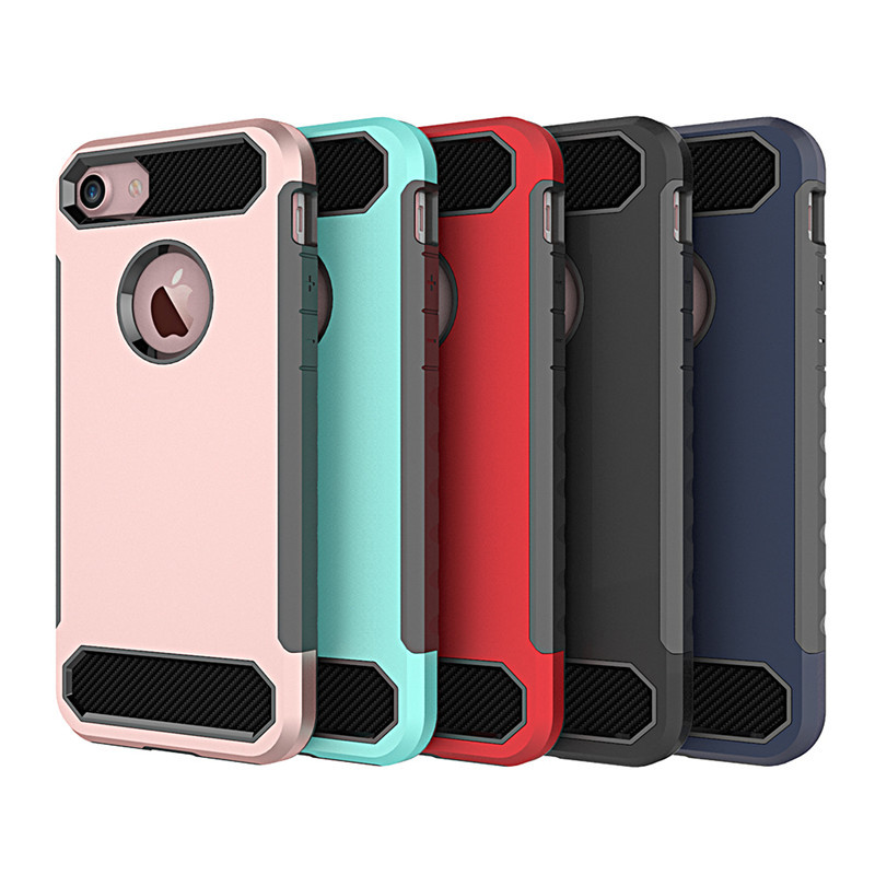 IPhone 7 Phone Case Carbon Fiber Pattern Protective Case-in-TPU + PC Shatter-resistant IPhone 8 Plus