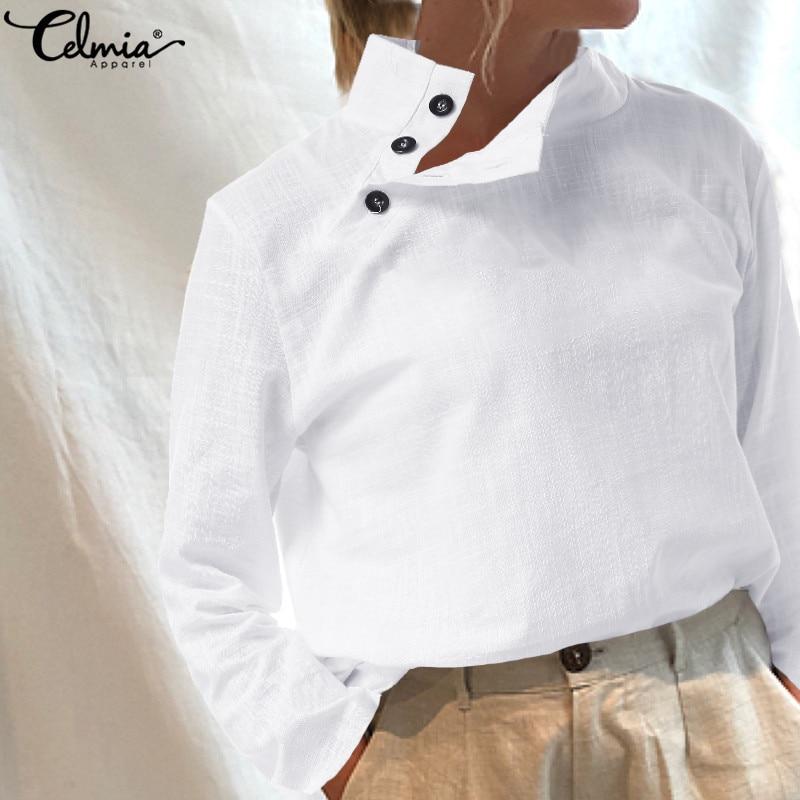 Women Long Sleeve Vintage Cotton Linen Blouses Tunic Tops Celmia 2020 Autumn Ladies Casual Shirts Buttons Solid Blusas Femininas