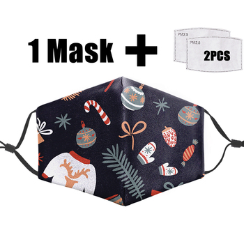 Christmas Present Print Masks Halloween Cosplay Reusable Mask Washable Fabric Face Masks Pm2.5 Filter Mouth Cover Proof Flu Mask