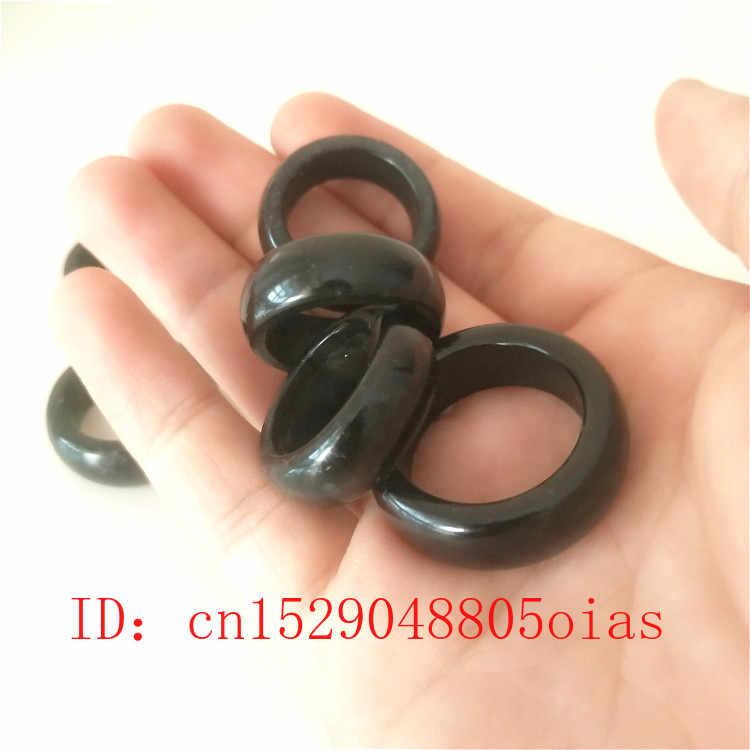สีดำธรรมชาติสีเขียว Hetian หยกแหวนจีน Jadeite Amulet Obsidian Charm เครื่องประดับแกะสลักงานฝีมือของขวัญสำหรับผู้หญิงผู้ชาย