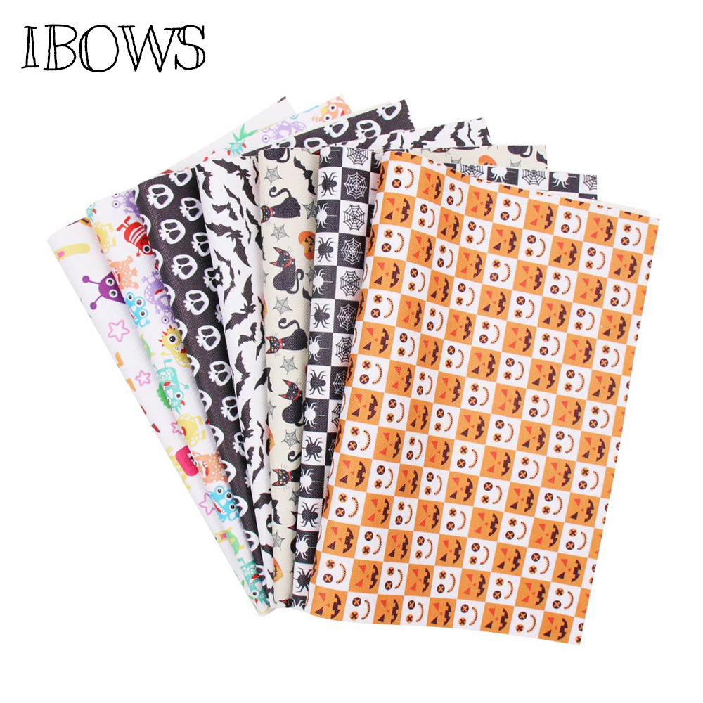 IBOWS 22*30cm Snythetic Leather Fabric Sheet Haloween Skull Faux Leather Vinyl Fabric For DIY Hairbow Bags Crafts Bow Material