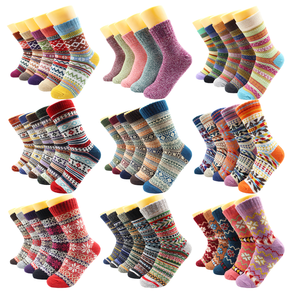 5 Pairs Winter Warmer Women Thicken Thermal Wool Cashmere Snow Socks Fashion Casual Euramerican National Wool Socks for Women