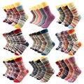 5 Pairs Winter Warmer Women Thicken Thermal Wool Cashmere Snow Socks Fashion Casual Euramerican National Wool Socks for Women
