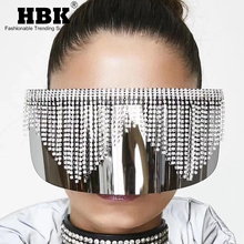 Oversized Shield Visor Sunglasses Women FlatTop Mask Crystal
