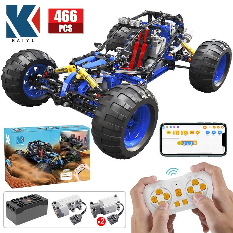 Kaiyu alta-tecnologia rc fora de estrada carro de corrida buggy moc blocos de construção app programação controle remoto veículo caminhão tijolos brinquedo presentes