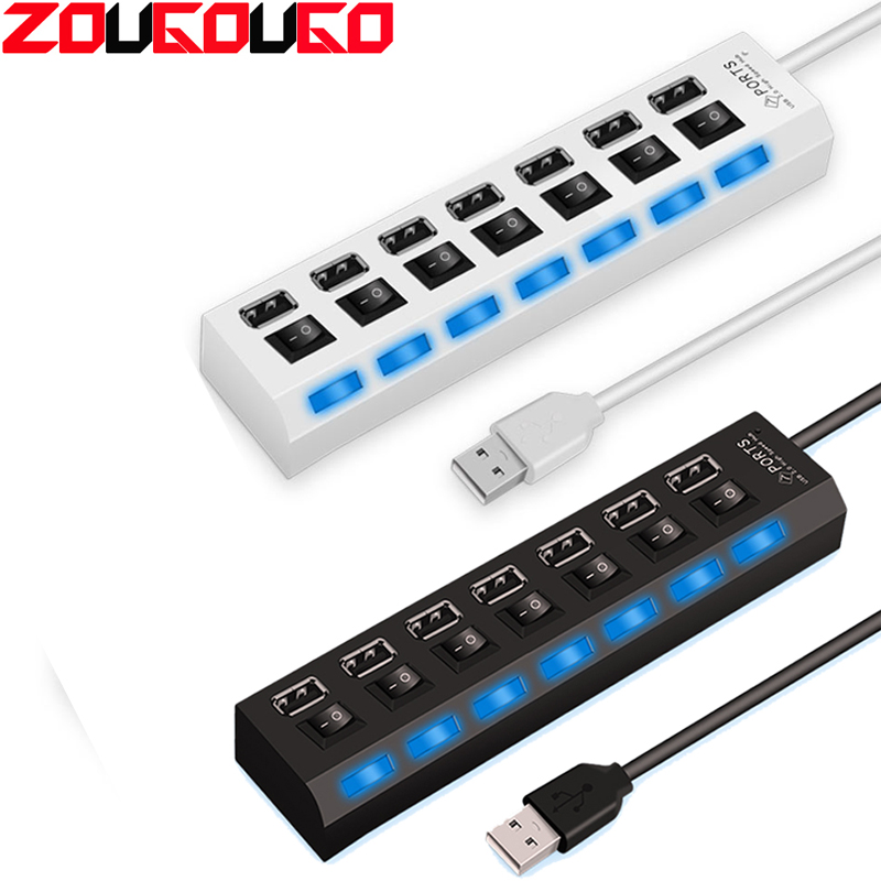 ZOUGOUGO USB Hub 2.0 7 Ports Hub USB Splitter Adapter With ON/OFF Switch High Speed USB 2.0 Hub For Laptop Computer Accessories
