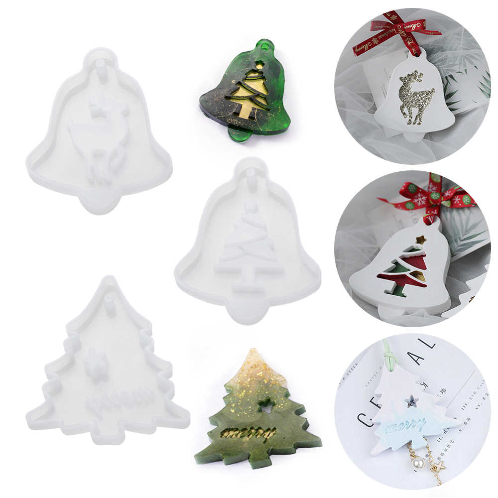 Christmas DIY Hanging Tags Crystal Epoxy Resin Mold Christmas Tree Topper Mold Hanging Pendant Decoration Christmas Ornament Resin Silicone Mould