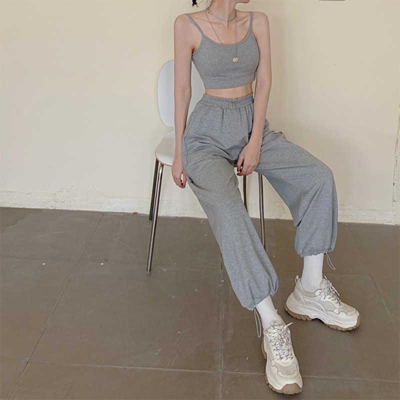 한국어 스타일 여자 느슨한 스웨트 여성 조깅 회색 높은 허리 바지 컴포트 간단한 기본 캐주얼 패션 바지 Streetwear