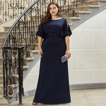 Plus Size Women Dress Mermaid Beaded Half Sleeve O-Neck Bodycon Evening Party Dress Ladies Long Formal Dress Vestido De Festa 2019 spring new women half sleeve loose flavour black dress long summer vestido korean fashion outfit o neck big sale costume