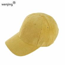 Gorras de béisbol de pana WJ625B ajustables para hombre y mujer unisex de otoño cálido de color sólido