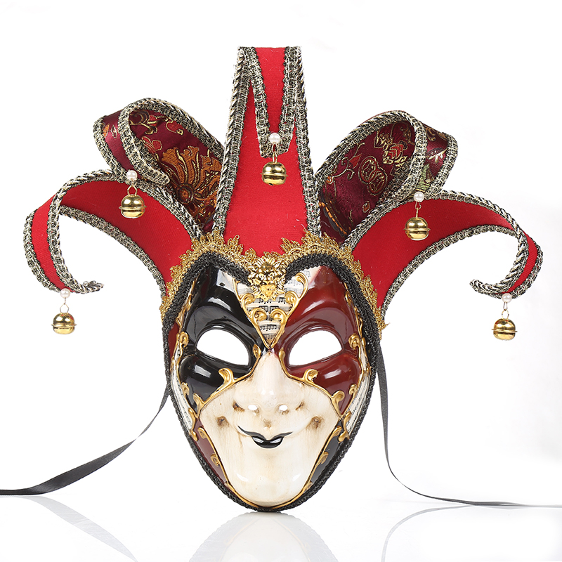 Full Face Venetian Theater Jester Joker Mask Masquerade Men Bells Mardi Gras