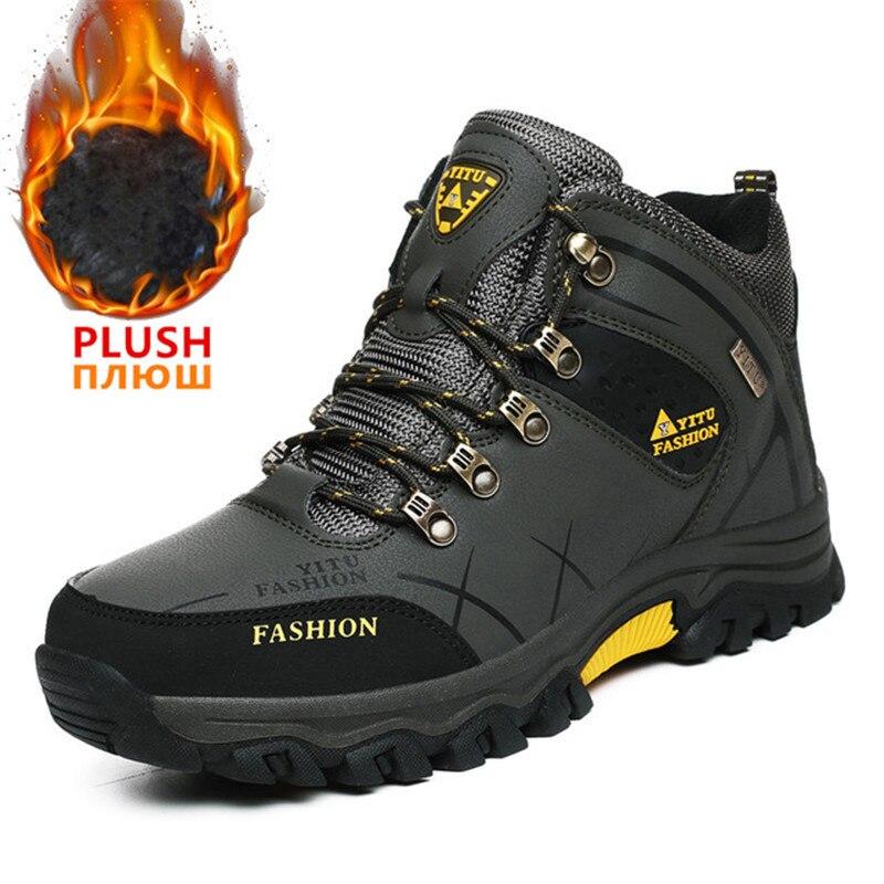 Мужские зимние ботинки, водонепроницаемые кроссовки из искусственной кожи с мехом, теплые мужские ботинки, уличные мужские походные ботинки, Рабочая обувь размера плюс|Зимние сапоги|   | АлиЭкспресс
