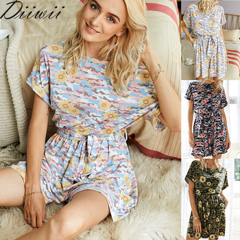 Diiwii Woman Camouflage Short-Sleeved Jumpsuit Rumpers For Tie-Dye Printed Round Neck Loose Casual Summer Suit 1