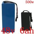 48В 500 Вт аккумулятор 48В 6А  литий-ионный аккумулятор 48В  аккумулятор для электрического скутера  велосипеда с 15A BMS + 54 6 в 2A зарядным устройство...