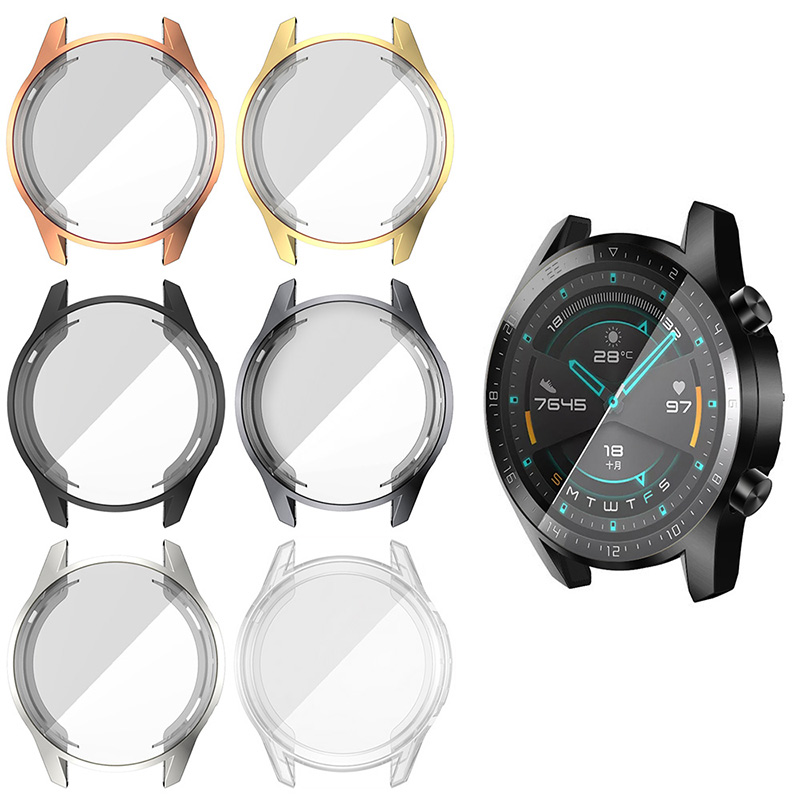 360 Protection Painting 3D Case For Huawei Watch GT2 46mm Protective Cover Screen Protector GT 2 46 Mm Smart Accessories Coque
