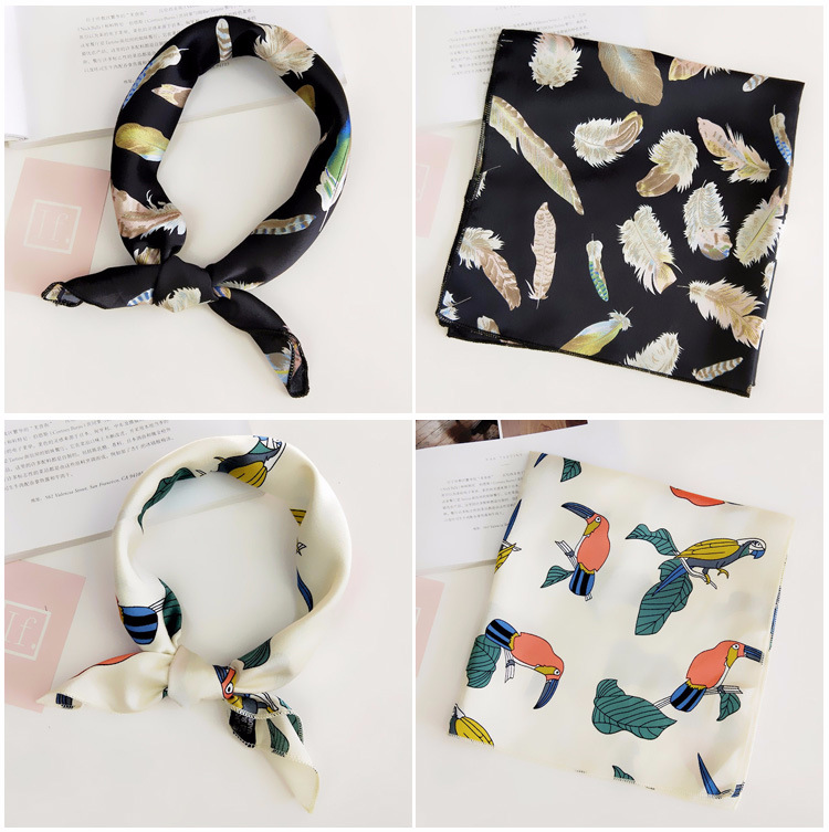 H8692e595e98440dcaa68d814f61182cdR - Square Scarf Hair Tie Band For Business Party Women Elegant Small Vintage Skinny Retro Head Neck Silk Satin Scarf