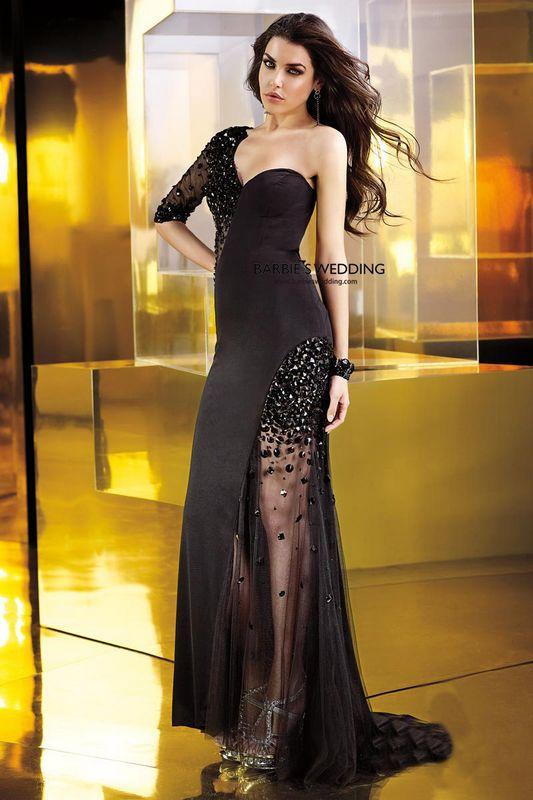 Free Shipping Cheap Robe De Soiree 2014 New Fashion Sexy Backless Vestido De Festa Longo Black Crystal Party Gown Prom Dresses