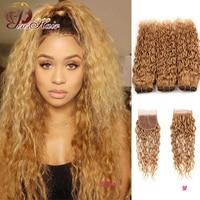 Honey Blonde Brazilian Water Wave 3 Bundles With Closure Gold Blonde Human Hair Weave Bundles With Closure Pinshair Remy Bundles