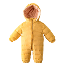Baby down jacket winter boy gir kids down jumpsuit thickened Wrap foot feet Holding  clothes -30 degrees outside