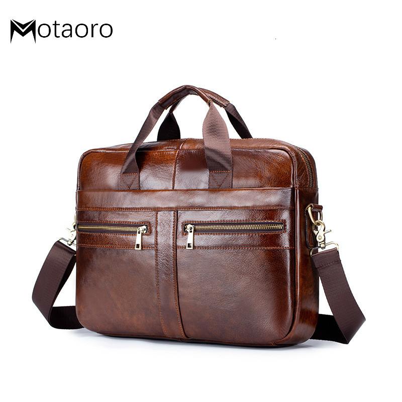 Men's Briefcase Men Leather Genuine Briefcase Bag For Business Office Laptop Bags Large Capacity Cowhide Handbag Bolso Hombre