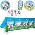 50 шт Doraemon тема скатерть украсить чашки тарелки Дети сувениры посуды стеклянные шары посуда для вечеринки в честь Дня рождения комплект торт...