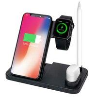 10 w 빠른 qi 무선 충전기 홀더 애플 iwatch 시리즈 1 2 3 4 airpods 아이폰 11 삼성 note 10 빠른 무선 충전 패드