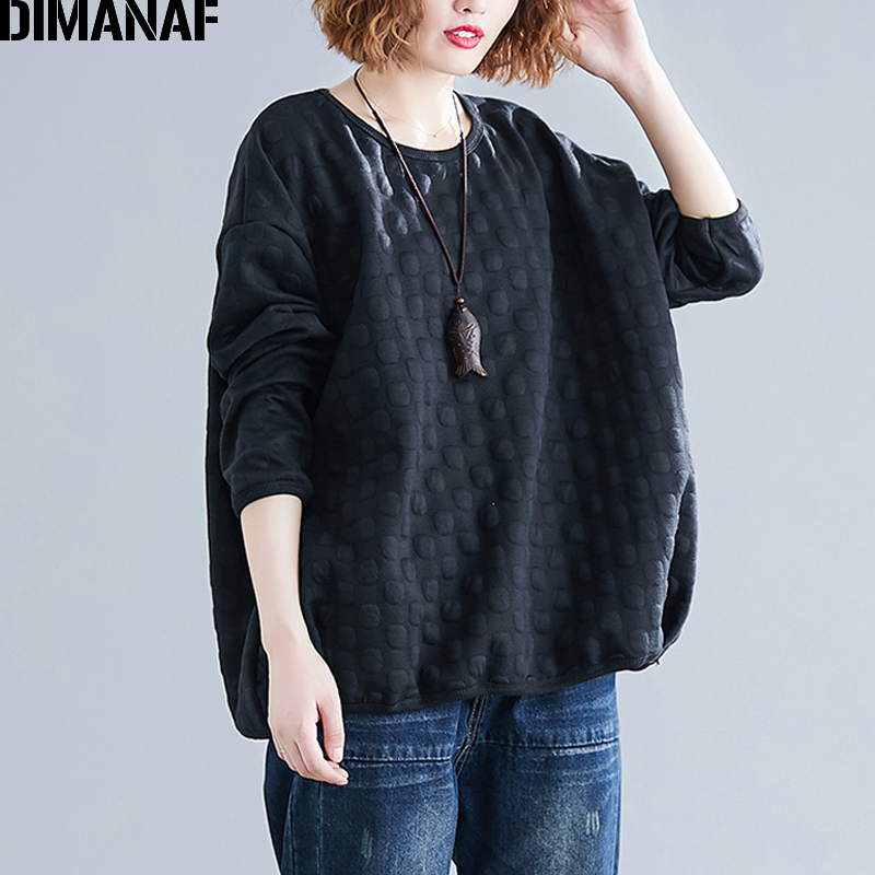 DIMANAF Plus Size Women Sweatshirts Vintage Female Basic Tops Shirt Winter Thick Long Sleeve Big Size