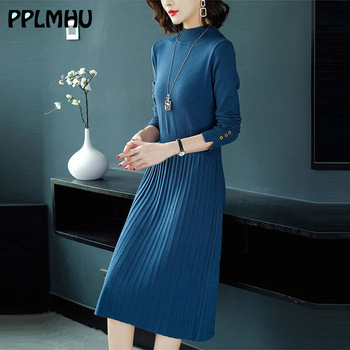 Autumn office turtleneck knitted dress for women 2020 pleated Sweaters dresses vintage long sleeves female A-line winter dresses vintage cherry halterneck a line dress for women