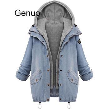 Plus Size 7XL Winter Women Jean Jacket Warm Collar Hooded Coat Jacket Denim Parka Outwear Long Bomber Women Streatwear Jacket цена 2017