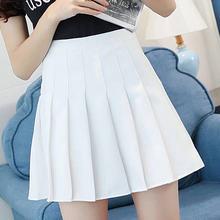 Белая плиссированная летняя юбка черная с завышенной талией
