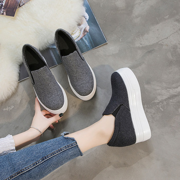 2020 Inside Increase Lok Fu Shoes Thick Bottom Casual Shoes Female Slope With Joker Women's Singles Shoe Season