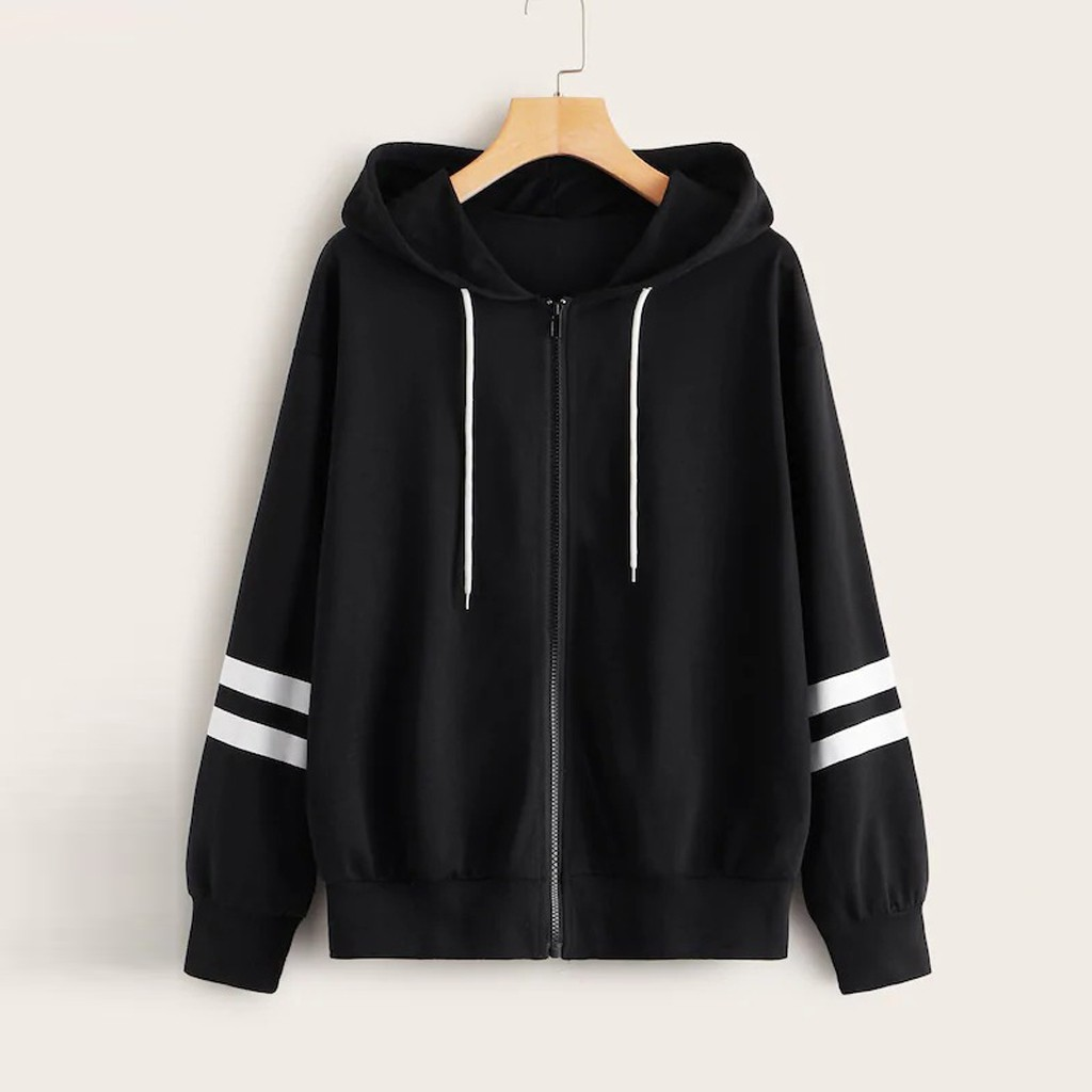 Sudaderas Mujer 2020 Harajuku Women's Autumn Zip-Up Stripe Sleeve Drawstring Hoodies Casual Sweatshirt Tops Female Tracksuit