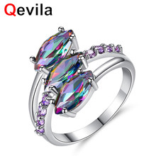 Qevila Fine Silver Rings Women Luxury Three MultiColor Eye Zircon Wedding Engagement Rings for Women Jewelry Accessary Ring Gift(China)