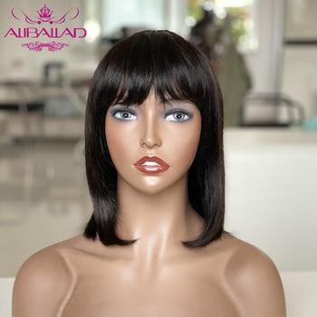 Short Bob Human Hair Wigs With Bang Brazilian Remy Human Hair Straight Bob Wig For Black Women Human Hair Full Wig 8 to 16 Inch short capless side bang straight human hair wig