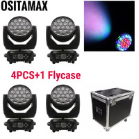 4pcs with flightcase Zoom LED Moving Head Wash Light RGBW 19X15W 4IN1 Beam Wash DJ Light Circle Colors Disco Stage Washer Lights