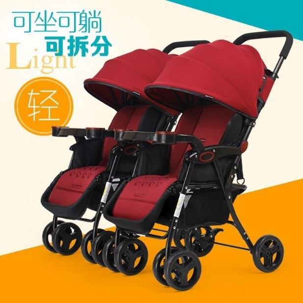 Super Portable Twin Stroller Portable Folding Portable Sitting and Lying Double Stroller Stroller Baby  Stroller Baby