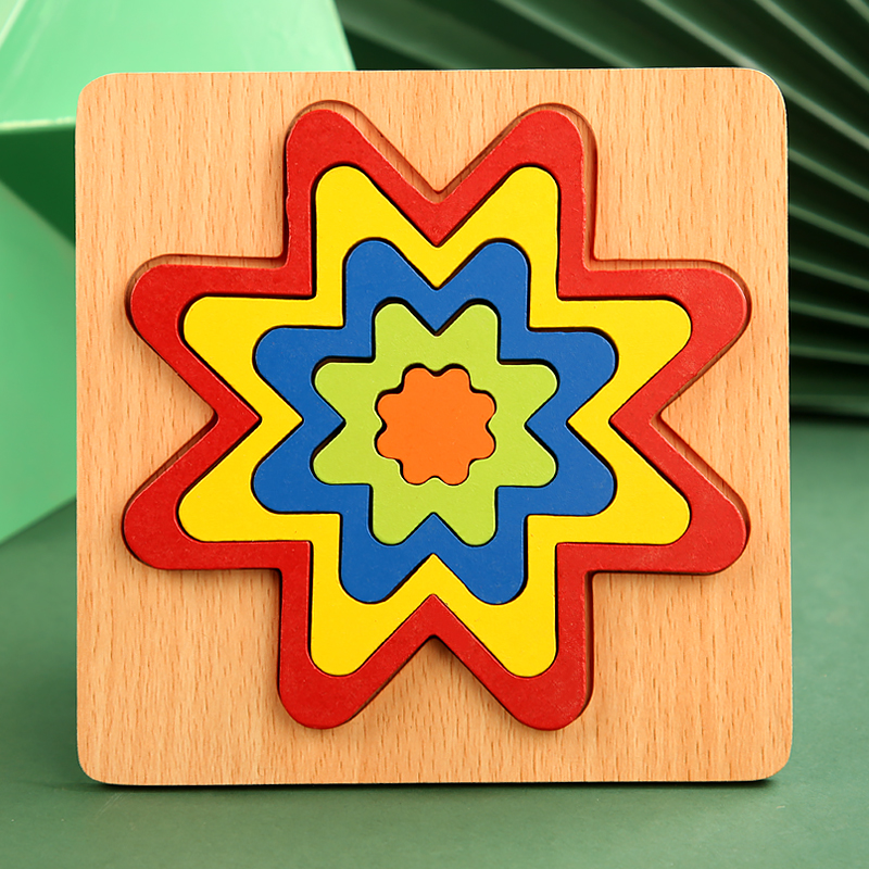 High Quality Colorful 3D Wooden Geometric Shapes Cognition Puzzles Board Math Game Montessori Learning Educational For Kids Toys 11
