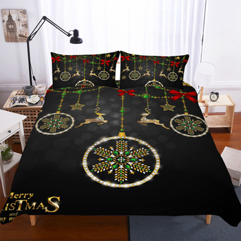 BEST.WENSD- Christmas Snowflake Reindeer Bedding Children Adult Queen King Size Bedding Set Duvet Cover Pillow Cases Home Textil