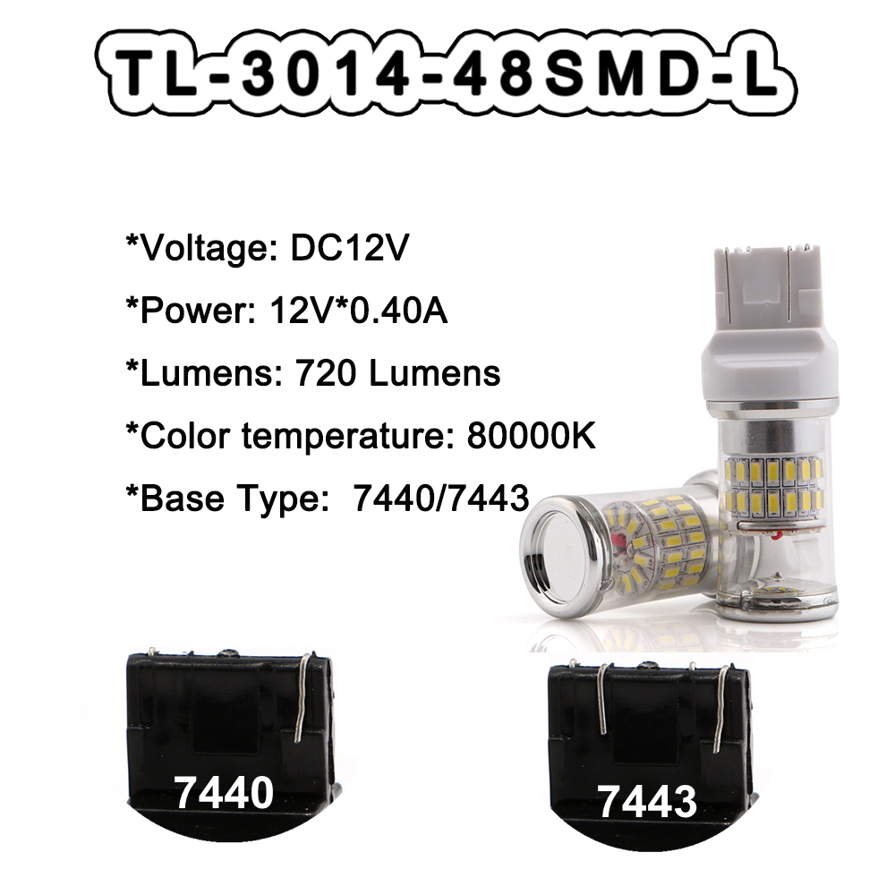 10pcs 12V 3014 48 SMD with Cover White Red Amber 7440 7443 T20 Base Led Bulb Tail Turn Stop Parking Rear Car Light in Signal Lamp from Automobiles Motorcycles