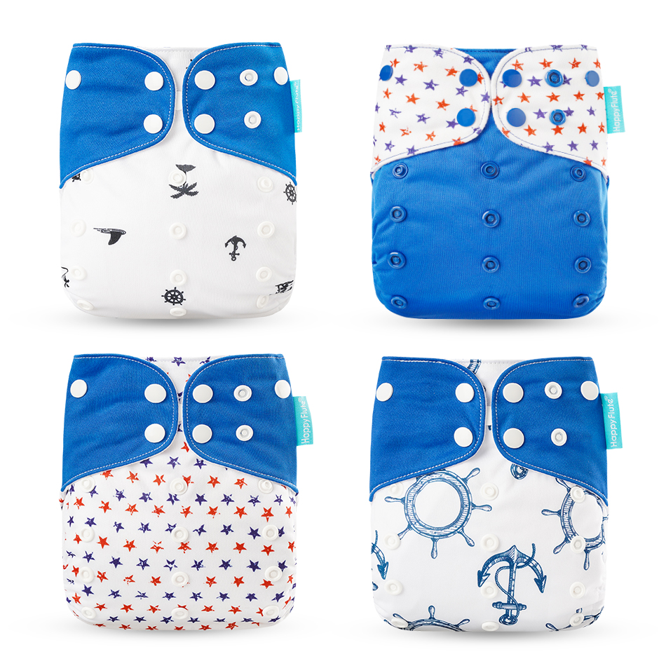 Happyflute HOt Sale OS Pocket Diaper 4pcs/set Washable &Reusable Baby Nappy New Print Adjustable Baby Diaper Cover
