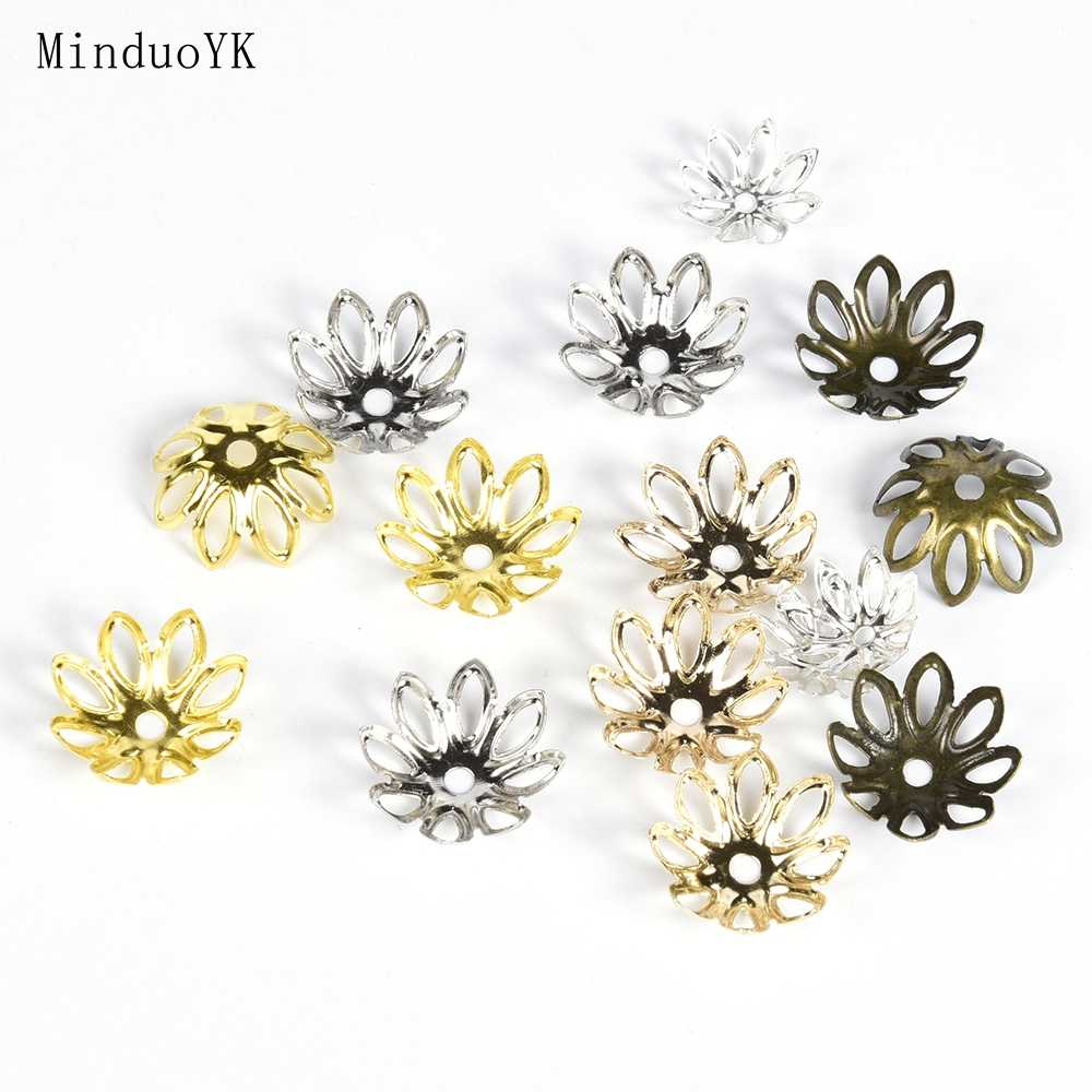 100 sztuk/partia 11 14 mm kwiat koralik Cap ocena biżuteria Spacer filigranowe Charms koraliki czapki do tworzenia biżuterii