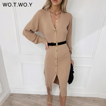 WOTWOY Autumn Winter Basic Long Cardigans Women Casual Single Breasted V-neck Knitting Sweaters Female Button Sweater Lady 2020 цена 2017